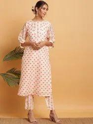 Janasya Women's Peach Poly Silk Kurta With Pant(J0278)