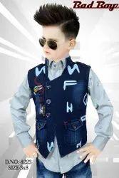 Denim Printed Boy Kids Party Wear Dress