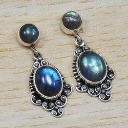925 Sterling Silver Jewelry Natural Labradorite Gemstone Stud Earring SJWES-6