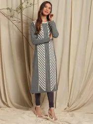 Janasya Women's Grey Woolen Kurta (J0321)