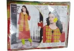 Cotton Casual Wear Ladies Check Printed Kurti, Size: XL, Wash Care: Machine wash
