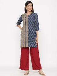Jaipur Kurti Women Indigo Ethnic Motif Straight Cotton Kurta