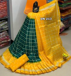 Archit enterprise Kalamkari Prints Polyester Cotton Sarees, With Blouse, 6.3 m