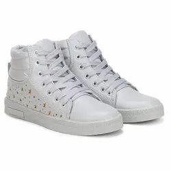 White Sneakers Casual Wear High Heel Long Shoe'S, Size: 5