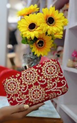 Embroidered Synthetic Red Designer Bridal Clutch