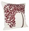 Classic Red Tree Embroidery And Sequence Cushion Cover