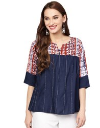 Jaipur Kurti Women Blue Abstract Embroidered Rayon Top