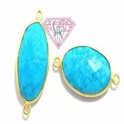 Turquoise Gemstone Bezel Connector