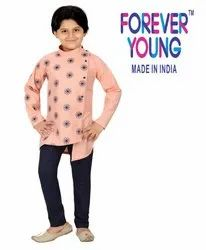 Embroidered Forever Young Kids Party Wear Cotton Kurta Pyjama Set, Size: 1 To 10