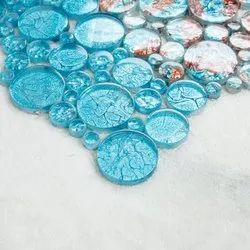 SISA Wall Cladding Round Shape Crystal Glass Mosaic Tiles, For Interior & Exterior Walls, Thickness: 5-10 mm