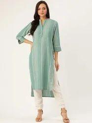 Jaipur Kurti Women Green & Rust Orange Woven Design Straight Cotton Blend Kurta