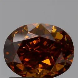 1.10ct Oval SI1 Fancy Deep Brownish Yellow Orange Natural Diamond
