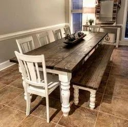 6 Chairs White DT 1006 Wooden Dining Table