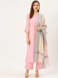Jaipur Kurti Pink Cotton Dobby Embroidered Straight Kurta With Palazzo & Dupatta