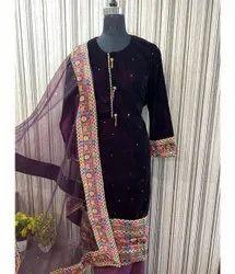Chiffon Party Wear Ladies Designer Suit