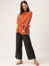 Jaipur Kurti Women Rust Solid Straight Viscose Rayon Shirt With Palazzo