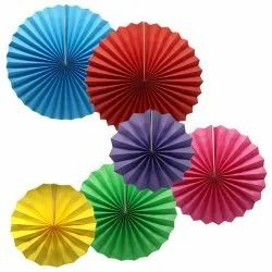 ROUND Multicolor Colorful Hanging Paper Fans Decoration, Packaging Type: 6 Pic, 16