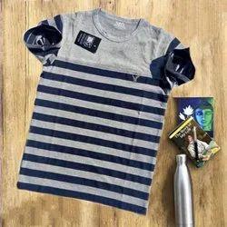 Round Half Sleeve Men Blue &Grey Lining Casual Cotton T-Shirt