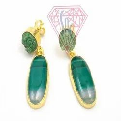 Green Agate and Green  Druzy  Gemstone Stud Earring with Gold Plated