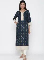 Jaipur Kurti Women Navy Blue Ethnic Motif Straight Viscose Rayon Kurta With Pant