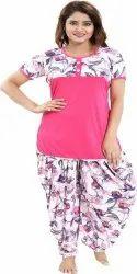 Printed Sarina Women Dhoti And Top Set:3441-Bud-Pink, Handwash