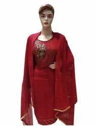 Arihant Fashion A-Line Red Crape Silk Designer Thread Work Salwar Suit For Women, Handwash