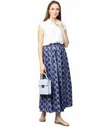 Jaipur Kurti Women Blue Ethnic Motifs Straight Cotton Skirt