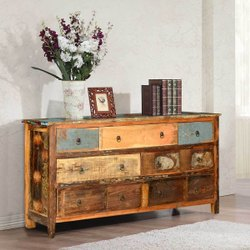 Furniture BoutiQ Livingston Rustic Distressed Reclaimed Wood Long Bedroom Dresser