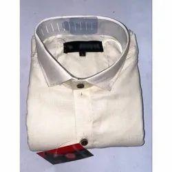 SDG Cotton Men White Plain Shirt, Machine Wash,Hand Wash