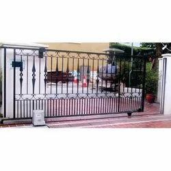 Silver Stainless Steel Automatic Telescopic Sliding Gate