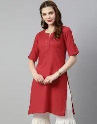 Jaipur Kurti Women Red Solid Straight Cotton Slub Kurta