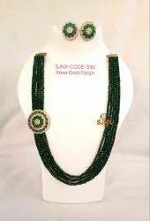 Wedding Wear Green Color White Pearl Kundan Choker Necklace Jewellery Set, Box