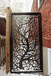 Metal Polished Decorative Panel Outdoor Gate, Thickness: 1.5 Inch