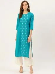 Jaipur Kurti Turquoise Blue Mirror Embroidered Straight Kurta With Solid Rayon Off White Palazzo.