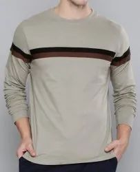 Crew-Neck T-shirt with Contrast Stripes
