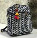 Black And White Cotton, Pu Leather Ladies Fashio Ikkat Sling Bag