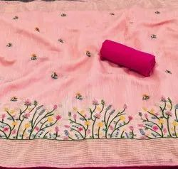 Morden Creation Party Wear Embroidery Cotton Saree, With blouse piece, 6.3