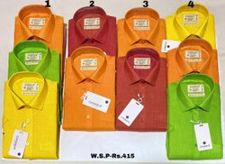 Collar Neck Casual Wear Men Cotton Plain Shirts, Size: L-XXL