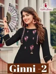 Ladies Flavor Ginni Vol 2 Rayon With Embroidery Work Top With Bottom Catalog