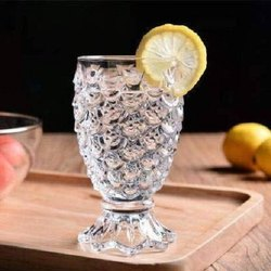 Transparent Crystal Pineapple Shape Glasses, For Home, Capacity: 200 Ml