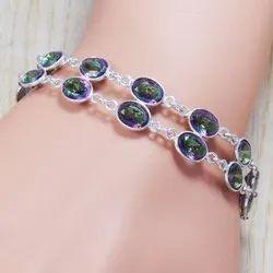 925 Sterling Silver Mystic Topaz Gemstone Handmade Bracelet SJWBR-117