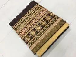 Casual Wear Brown,Beige Nivah Fashion Cotton Embroidery Punjabi Patiala Suit, Handwash
