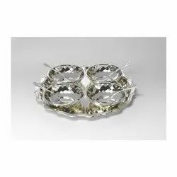 Silver Plated Tray with Four Bowl and Spoons