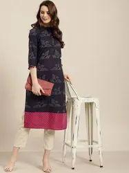 Jaipur Kurti Women Purple Quirky Straight Cotton Kurta