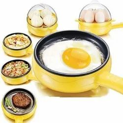 Electric 2 In 1 Egg Frying Pan With Egg Boiler Machine Measuring Cup With Handle