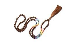 Rudraksha Beads Gemstone Chakra Mala Cotton Handmade Tassel