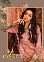 Lawn Cotton Free Size M Prints vol 5 - Heavy Designer Karachi Embroidery Salwar Suits, For Ocassion
