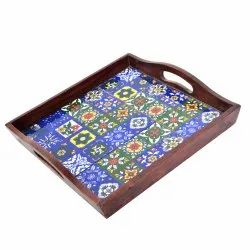 Wooden Serving Tray Decorative Tray Wedding Gifting Tray Designer Tray Tile Tray