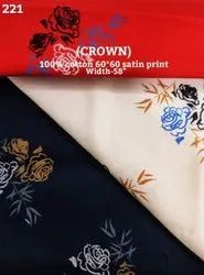 Crown Cotton Satin Print Shirting Fabric