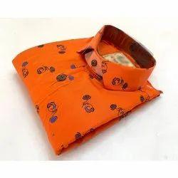 SDG Men Orange Printed Cotton Shirt